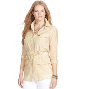 LAUREN Ralph Lauren Button Front Tie Tunic Shirt